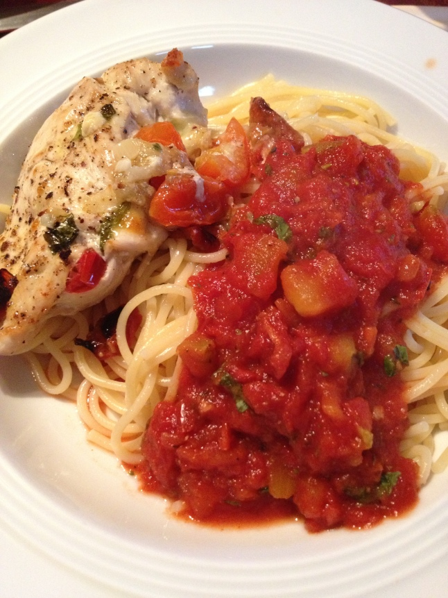 Chicken breast stuffed with tomato, basil and mozzarella