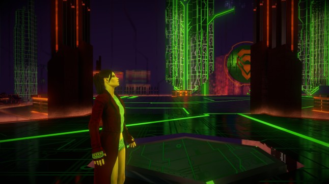 SR4 takes you to interesting locales like this virtual world... again