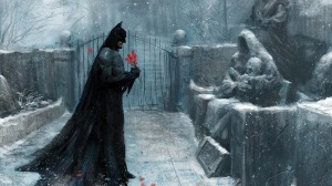 Batman Visiting his parents in the Family Cemetary