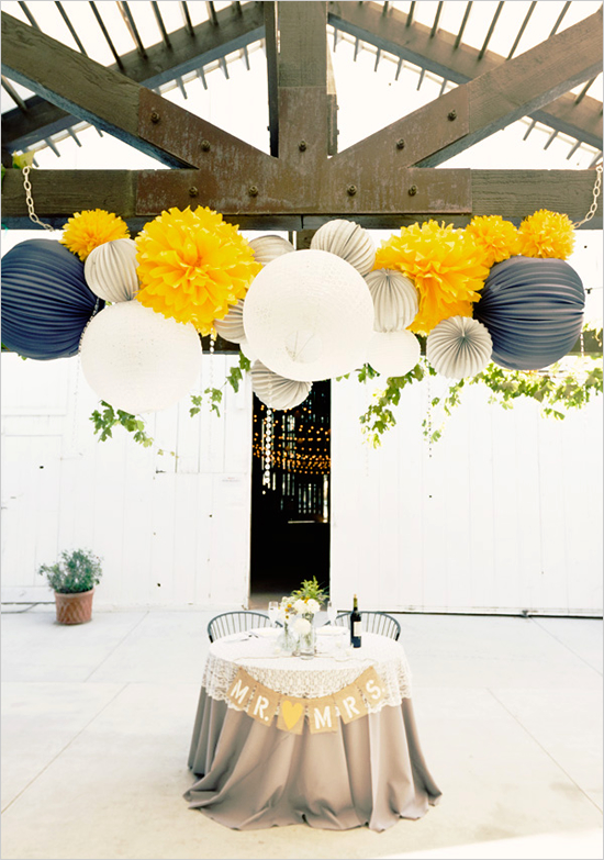 Grey, white and yellow decor