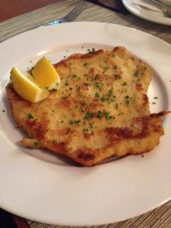 Good old schnitzel - thin, golden brown and simple, with a potato salad