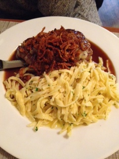 Rostbraten - steak covered with crunchy onions, spätzle and plenty of sauce