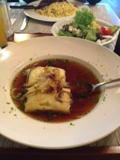 Maultaschen - like a big dumpling in beef broth