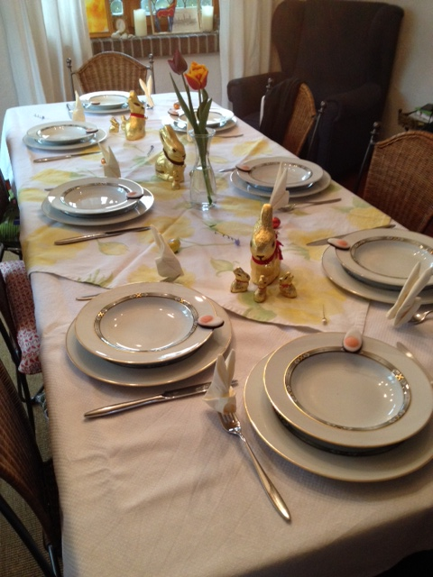 Prepping the table for Easter lunch...bunnies galore!