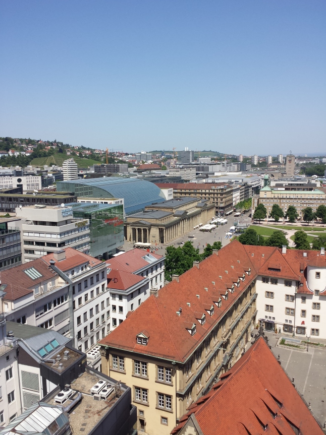 A view of the Königstraße, empty on a hot, sunny day