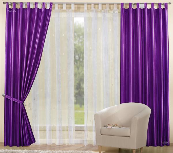 White curtains, purple drapes though we aim for a darker, more red-toned kind of purple