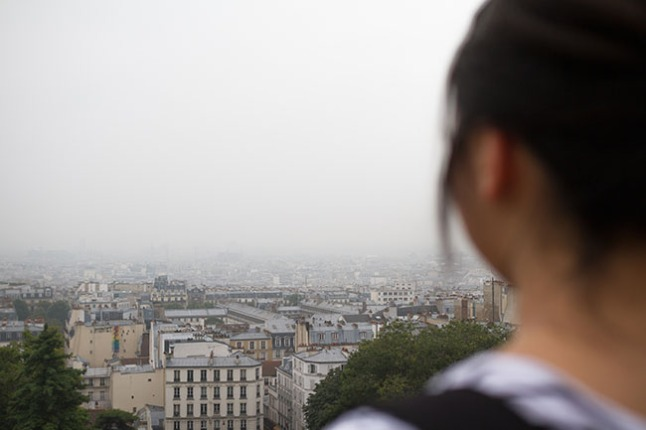 The foggy view from Sacre Coeur