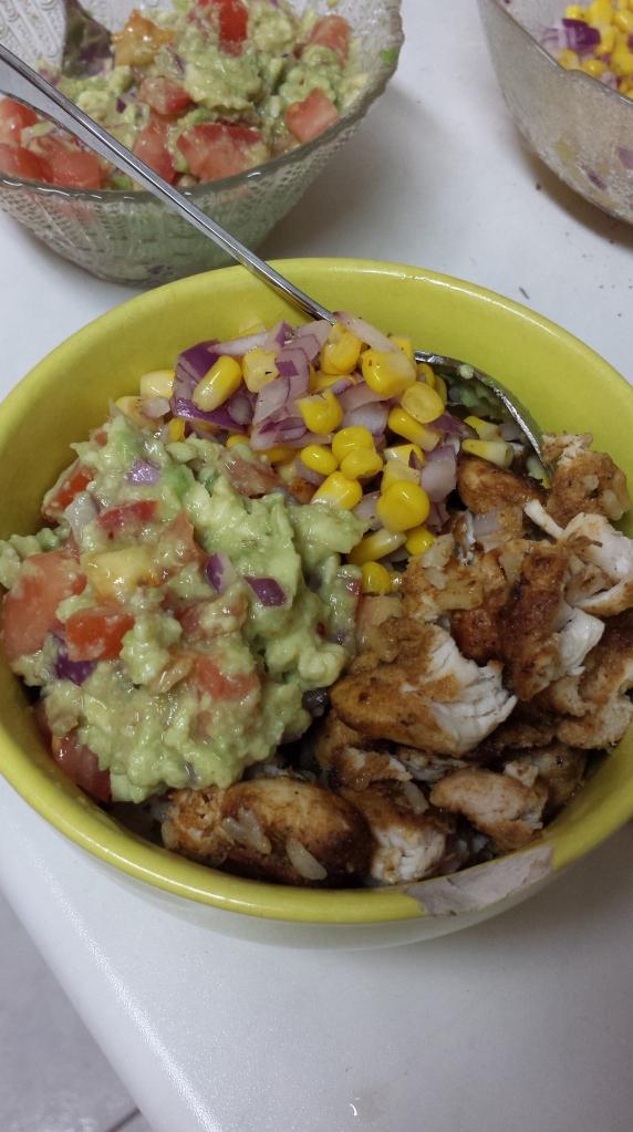 The final product: Chicken Burrito bowl